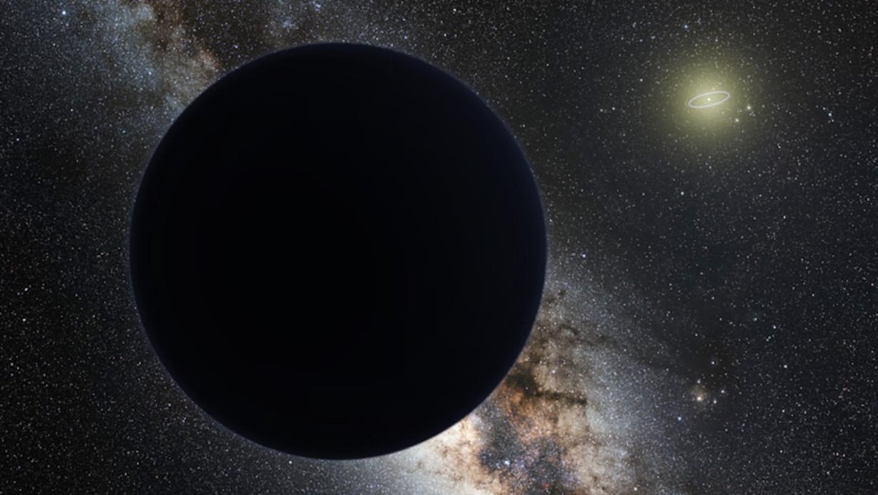Taiteilijan näkemys yhdeksännestä planeetasta, joka mahdollisesti lymyää aurinkokunnan laidalla. Kuvaan on piirretty Neptunuksen rata Auringon ympäri. Kuva: Tom Ruen / ESO