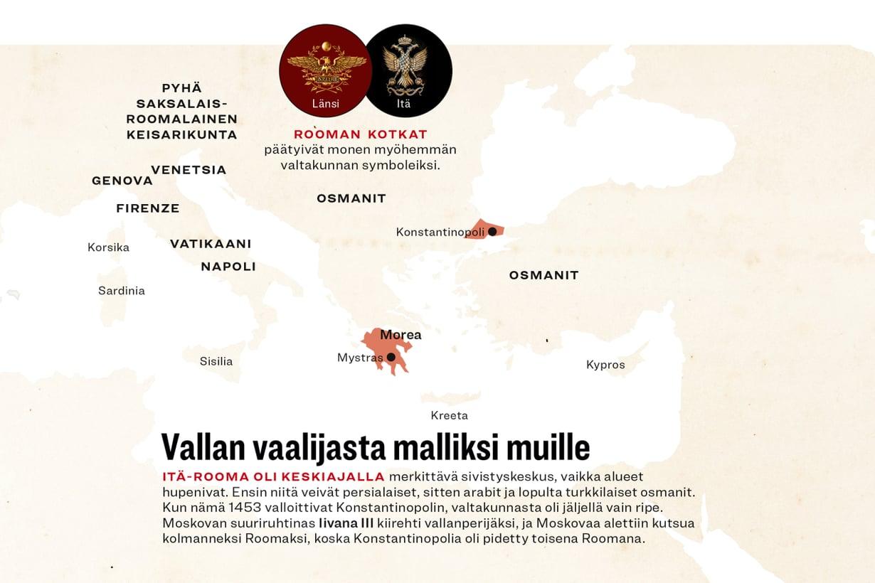 Itä-Rooma ennen osmanivaltausta vuonna 1453. (Aineisto Tuula Kinnarinen, grafiikka Riku Koskelo/Tiede, asiantuntija Maijastina Kahlos)