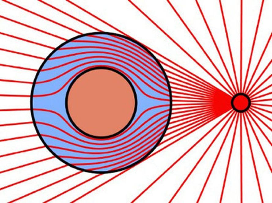 Säteily kiertää näkymättömyysviitan. Kuva Science/J Pendry
