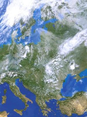 Kaspianmeri kuvan oikeassa laidassa ja Mustameri Turkin pohjoispuolella olivat jättijärven syviä altaita.
