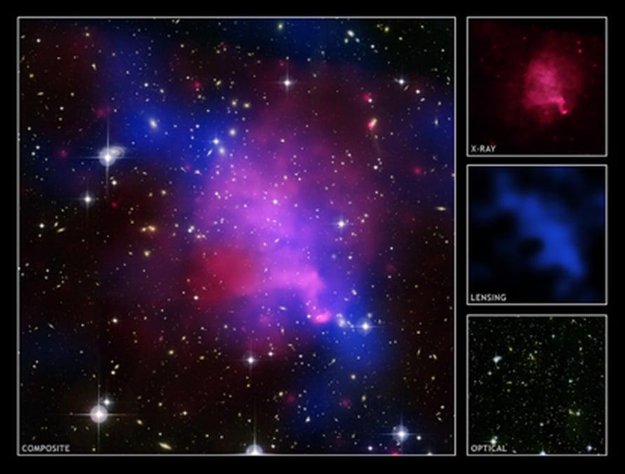 """Pimeä aine (sininen) saadaan näkymään gravitaatiolinssi-ilmiöllä. Kuva: <span class=""""photographer"""">NASA/CXC/UVic./A.Mahdavi et al.; Optical/Lensing: CFHT/UVic./A.Mahdavi et al.</span>"""
