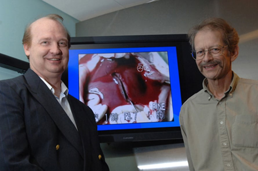 """Maksan verenvuoto pysähtyi heti peptidiliuoksella, näyttävät Rutledge Ellis-Behnke ja Gerald Schneider. Kuva: <span class=""""photographer"""">Donna Coveney</span>"""