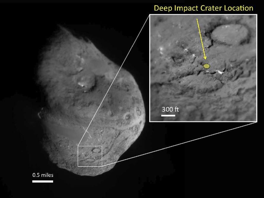 Tältä Deep Impactin jättämä arpi näyttää 180 kilometrin päästä.