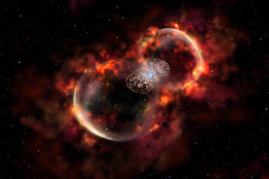 """Taiteilijan näkemys Eta Carinaen purkausten syöksemistä, tähdestä loittonevista pölypilvistä. Kuva: <span class=""""photographer"""">Lynette Cook</span>"""