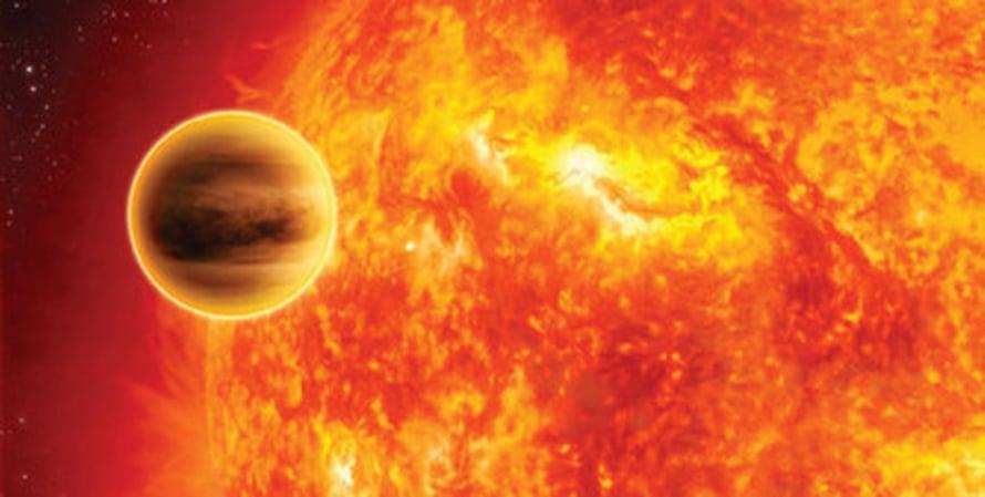 """Taiteilijan näkemys WASP-18b:n kaltaisesta eksoplaneetasta kiertämässä emotähteään. Kuva: <span class=""""photographer"""">C. Carreau/ Esa</span>"""