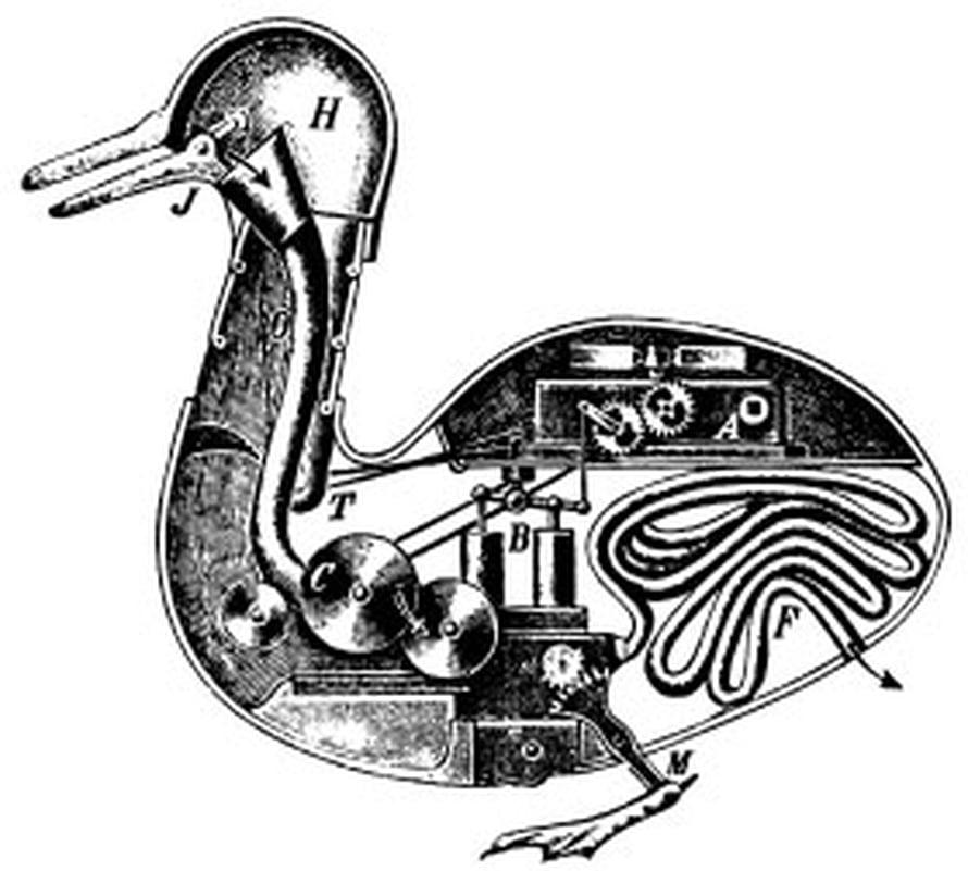 """Kaaviokuva Jacques de Vaucansonin automaattiankan oletetusta toiminnasta. Mekaaninen ankka söi jyviä ja tuotti ulostetta. Kuva: <span class=""""photographer"""">tuntematon / Wikimedia Commons </span>"""