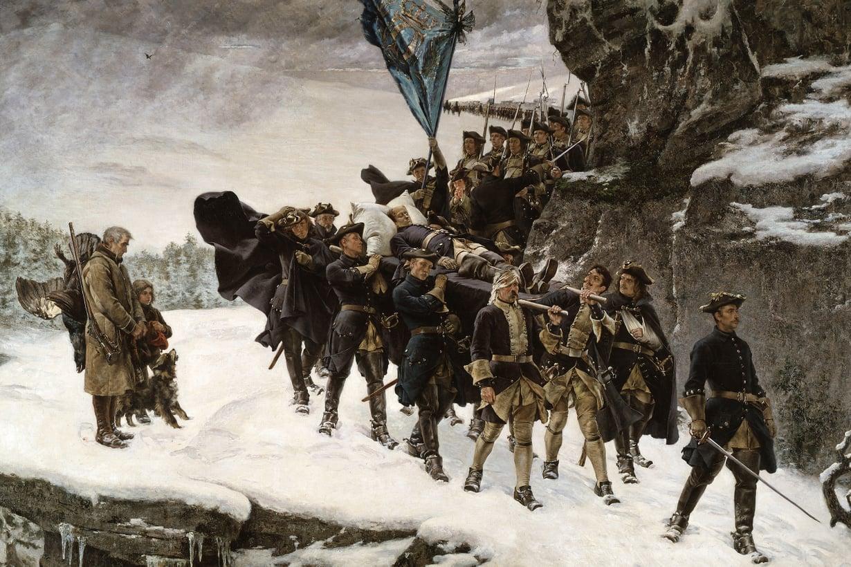 Sotilaskulttuurissa miehisyys tarkoitti urheutta. Taisteluhaavat ja kuolema olivat kunniamerkkejä myös Ruotsin suurvalta-ajan karoliinisotilaille. Kuva: Wikimedia Commons
