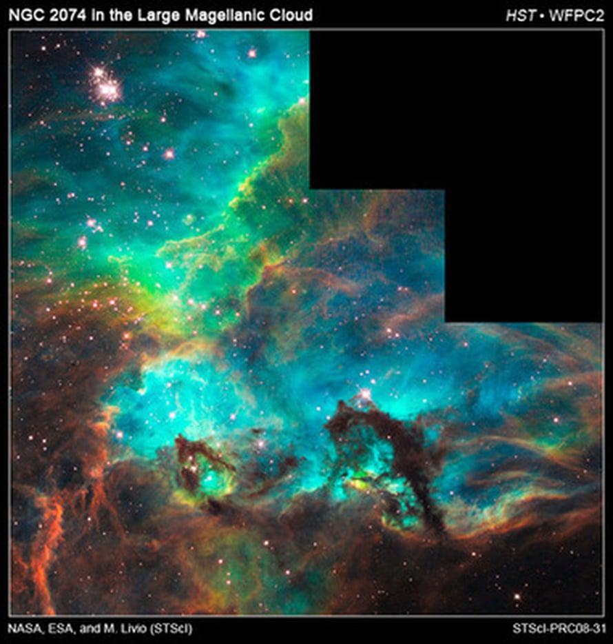 """Serpentiinimäisiä pöly- ja kaasukertymiä uusia tähtiä hautovan sumun reunalla. Alhaalla näkyvä merihevosen muotoinen pylväs on noin 20 valovuoden pituinen. Rikki säteilee kuvassa punaisena, vety vihreänä ja happi sinisenä. Kuva: <span class=""""photographer"""">NASA/ESA, M. </span>"""