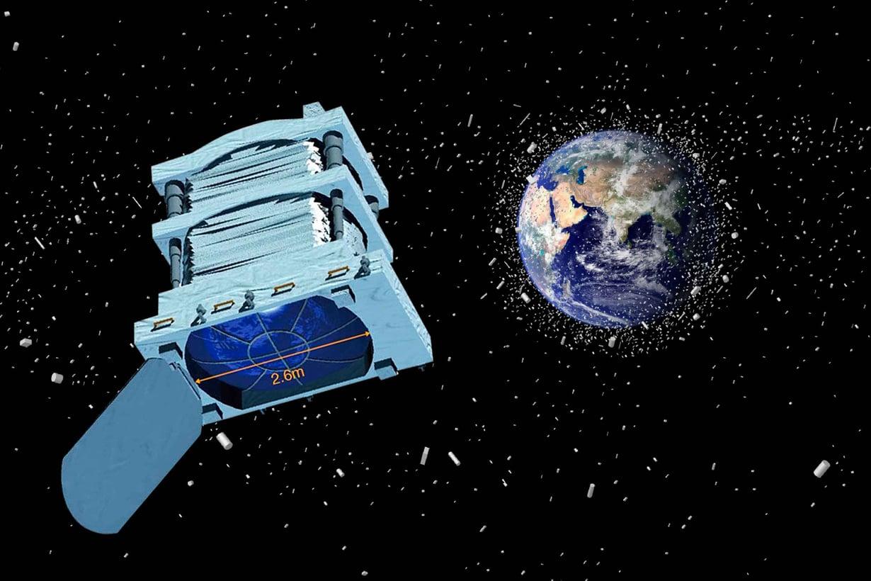 Euso-observatoriolle piisaa laseroitavaa, sillä Maata kiertää laskelmien mukaan yli 700 000 vähintään sentin kokoista romunkappaletta. Kuva: NASA's Goddard Space Flight Center / JSC