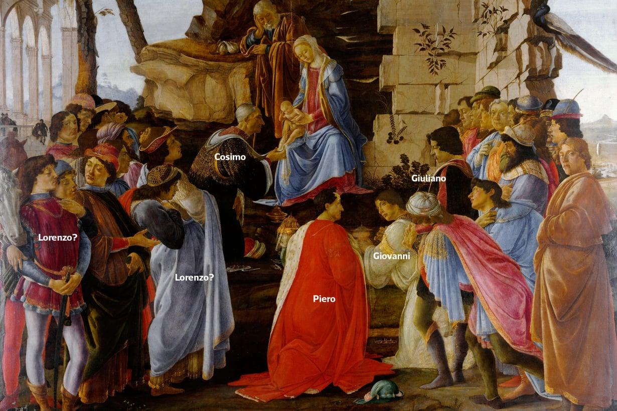 Mestarit ikuistivat mesenaattejaan maalauksiinsa. Botticellin Kuninkaiden kumarruksessa Medicit esiintyvät Itämaan tietäjinä, ja heitä on nähty myös katsojien joukossa.  Kuva: Wikimedia Commons