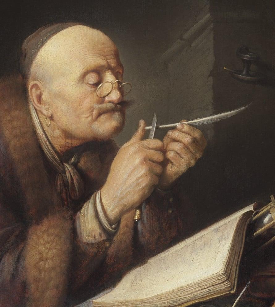 """Gerrit Doun maalaus Geleerde die zijn pen snijdt. Kuva: <span class=""""photographer"""">Wikimedia Commons</span>"""