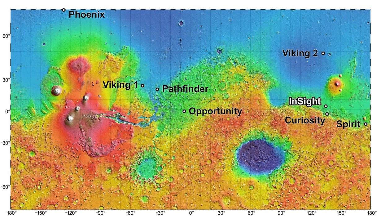 Elysium-tasanko sijaitsee lähellä Marsin päiväntasaajaa. Kuva: NASA/JPL-Caltech
