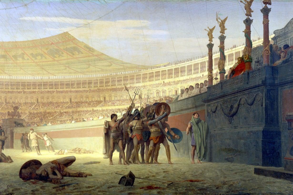 Areenoista mahtavin oli pääkaupungin Colosseum. Sitä muistuttavia pienempiä amfiteattereita nousi näytösten kulta-aikaan kautta laajan imperiumin. Kuva: Getty Images