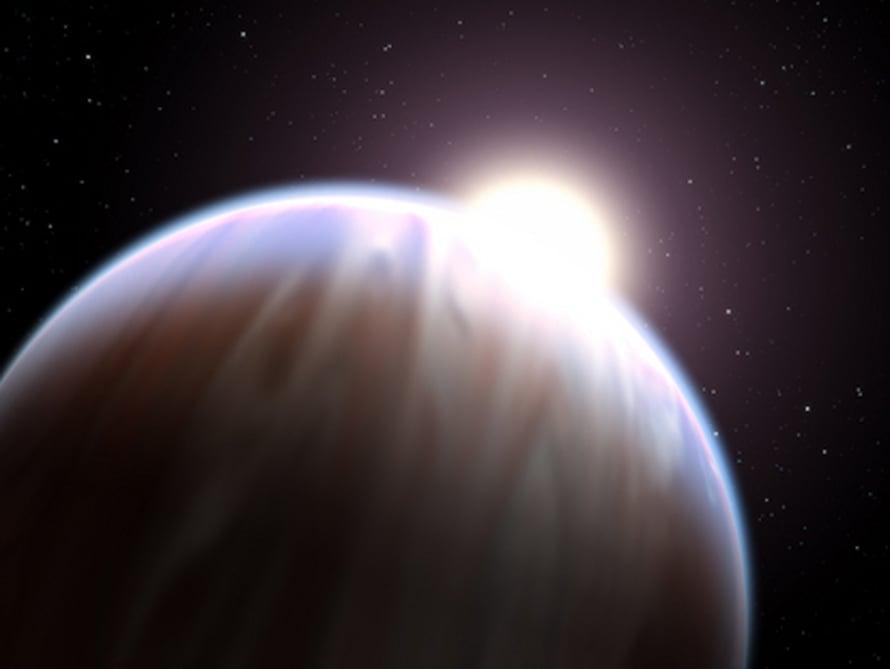"""Taiteilijan näkemys planeetasta HD 189733b. Kuva: <span class=""""photographer"""">Nasa, Esa/ G. Bacon</span>"""
