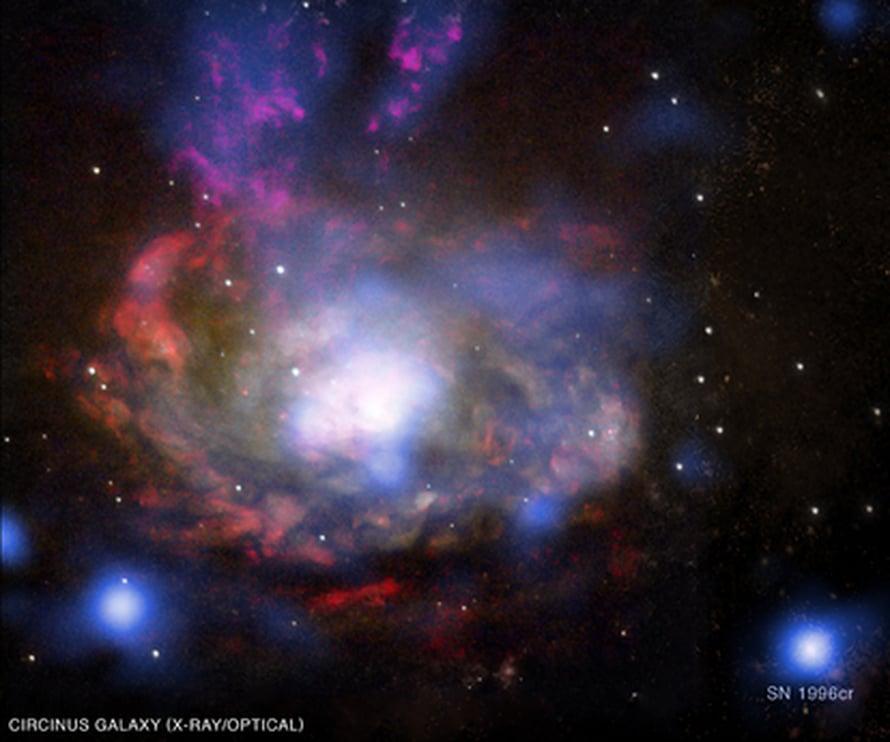 """Yhdistelmäkuva Circinuksen keskeisistä alueista. Chandran havainnot sinisellä, Hubblen keltaisella. SN 1996cr alaoikealla. Kuva: <span class=""""photographer"""">X-ray (NASA/CXC/Columbia/F.Bauer et al); Optical (NASA/STScI/UMD/A.Wilson et al.)</span>"""