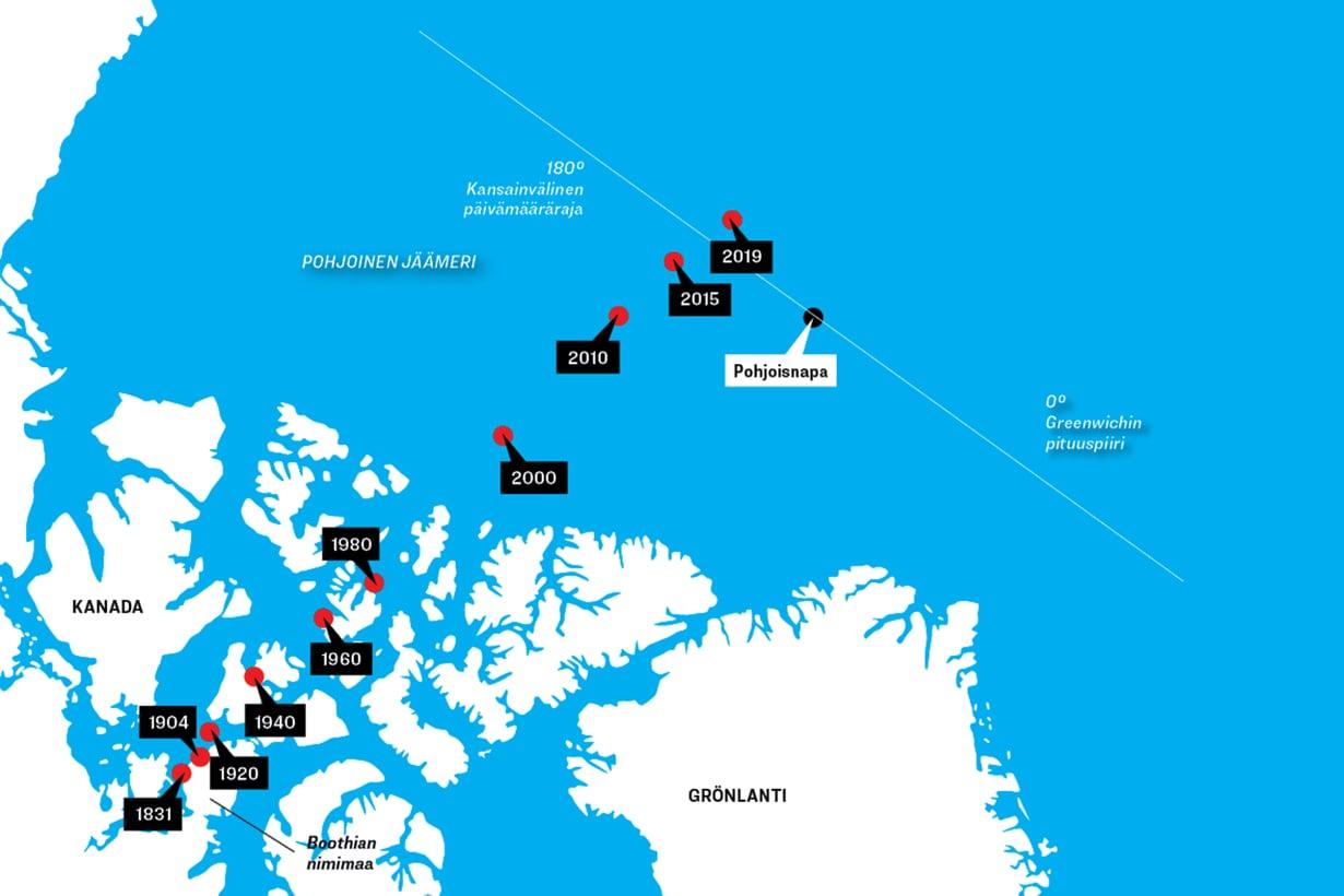 Pohjoinen magneettinapa siirtyy ennätyksellisen nopeasti Kanadasta kohti Siperiaa. Läntisen ja itäisen pallonpuoliskon rajalinja ylittyi viime vuonna. Grafiikka: Riku Koskelo/Tiede