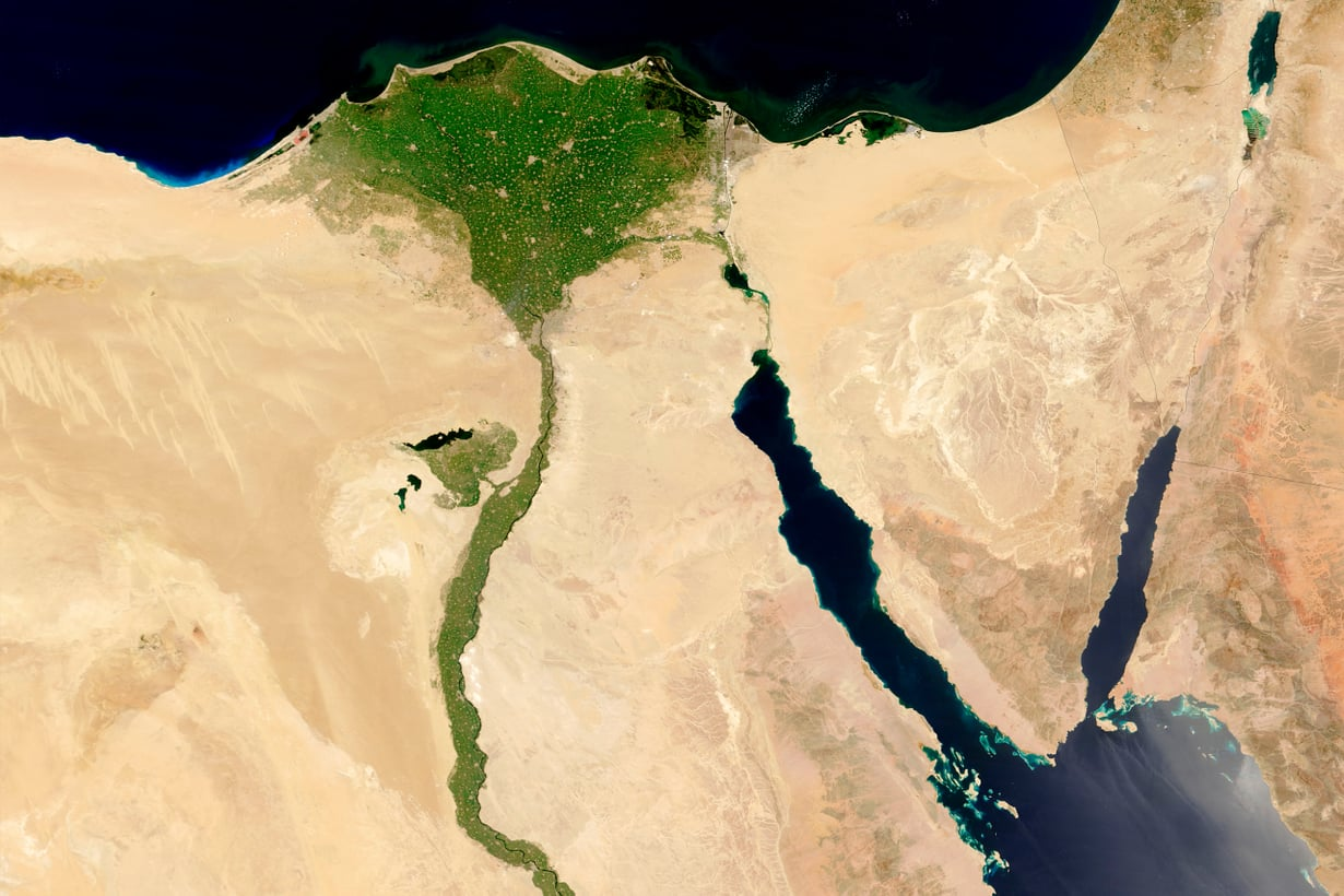 Niilistä tuli elämän virta runsaat 5 000 vuotta sitten, kun Sahara kuivui autiomaaksi ilmaston lämpenemisen seurauksena. Kuva: Nasa