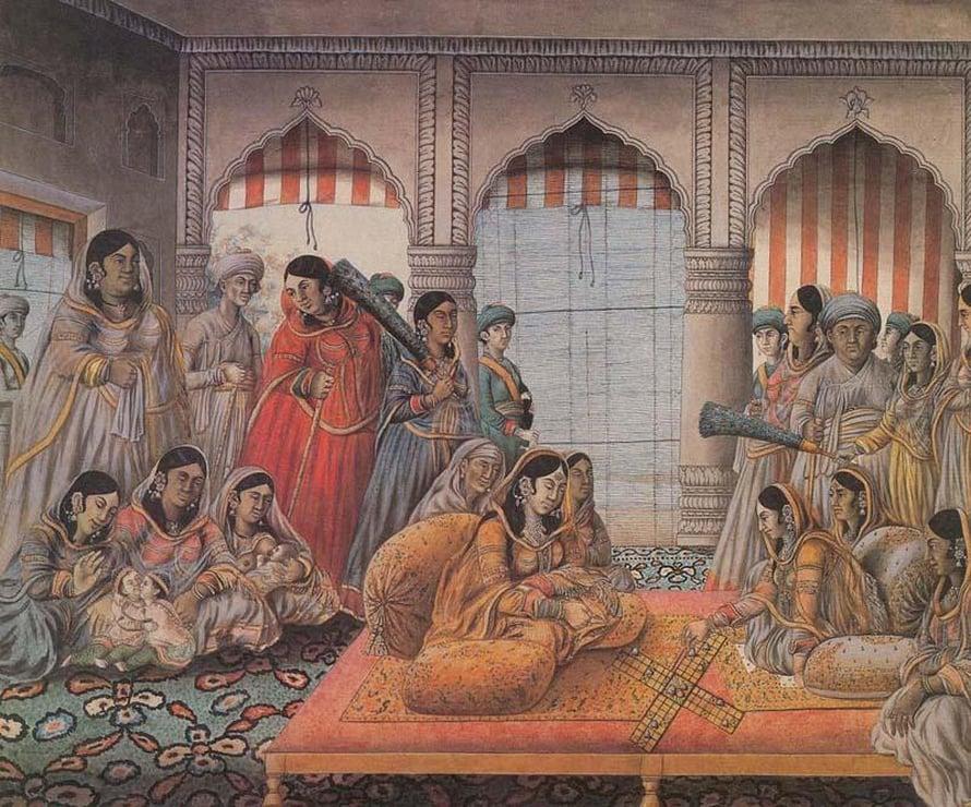 """Intialaisessa hovissa miehellä saattoi olla useampia vaimoja. Kuva: <span class=""""photographer"""">Senior wives playing chaupar (Lucknow, c.1790)</span>"""