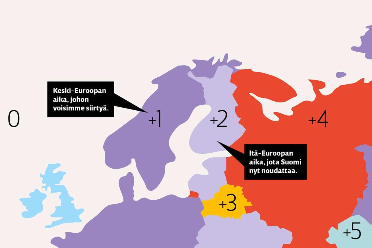 Askel länteen sopisi meilleAikavyöhykkeiden itälaidalla on vähemmän kaamosvaivoja ja iltavalvojia kuin länsilaidalla. Näistä terveellisistä seurauksista pääsisimme nauttimaan, jos siirtäisimme kellomme Keski-Euroopan aikaan.