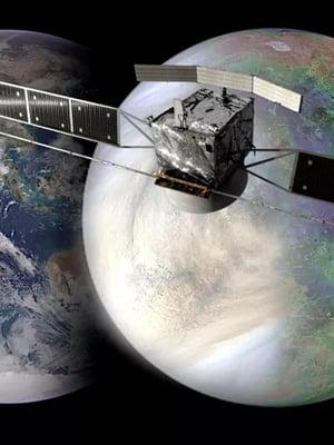 """Venus ja Maa ovat liki yhtä isoja. Venukseen lentää kolme luotainta 2020-luvun lopulla. Edessä Esan tuleva luotain. Taiteilijan näkemys. Kuva: <span class=""""photographer"""">Esa</span>"""