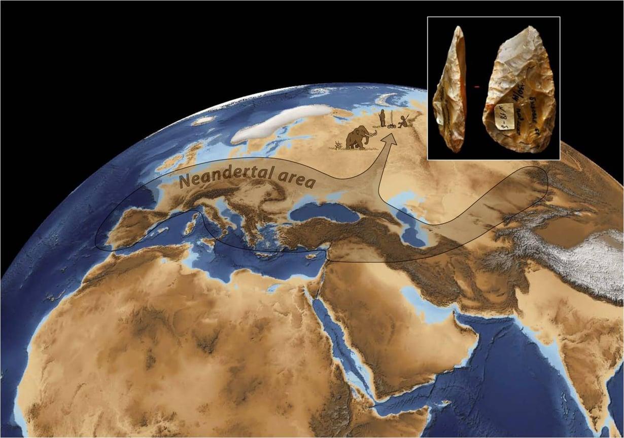 Byzovayan työkalut viittaavat siihen, että neandertalilaisten asuinvyöhyke tekee piston pohjoiseen.