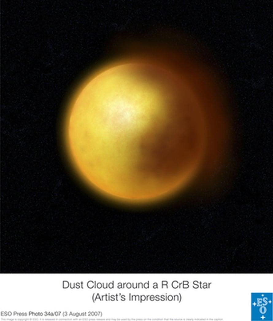"""Taiteilijan näkemys tähteä himmentävästä pilvestä. Kuva: <span class=""""photographer"""">ESO</span>"""