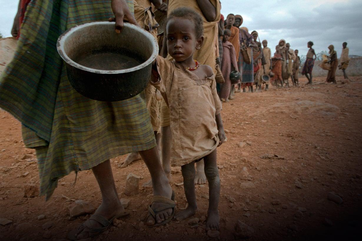 Afrikan nälkäkriisien takana on usein kuivuus, mutta hädäksi ne paisuvat selkkausten ja sotien takia. Kuva: Getty Images