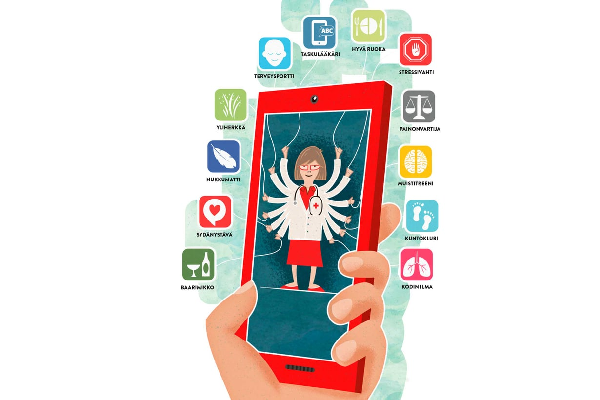 Huvista hyödyksi. Terveysappsit ovat vielä pikemmin hupia kuin hoitoa. Kun mobiili terveydenhuolto lähtee käyntiin, itsensä mittaaminen vakiintuu ja puhelimeen ilmaantuu terveysportti, josta pääsee katsomaan ja päivittämään omia tietojaan. Kuvitus Jukka Fordell.