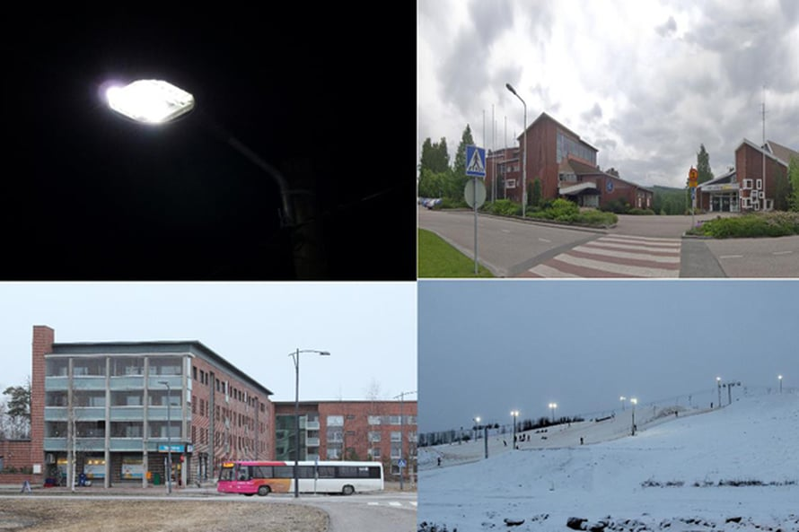 Kuvat vasemmalta oikealle, ylhäältä alas: LED-katuvalo, Äänekosken kaupungintalo, Oulun joukkoliikenteen bussi, Ruskotunturin laskettelukeskus. Kuvien lähde: Wikimedia Commons.