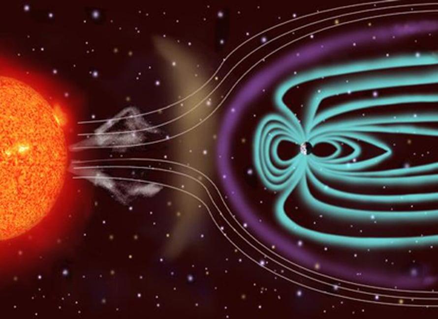 Maan magneettikenttä suojaa meitä Auringosta irtoavilta hiukkasilta. Kuva ESA/NASA SOHO