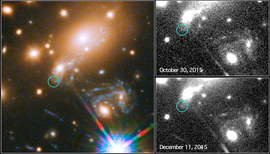 """Tähtitieteilijät ennustivat ensi kertaa, milloin saadaan näkyviin kuva supernovan räjähdyksestä, kuvassa oikealla alhaalla. Vielä lokakuussa (oik.ylh.) supernova ei erottunut avaruusteleskooppi Hubblen kuvissa. Supernova Refsdal löytyi galaksijoukosta, jonka valtava painovoima vääristi ja suurensi supernovan valoa Hubble-teleskoopille. Kuva: <span class=""""photographer"""">Nasa / Esa</span>"""