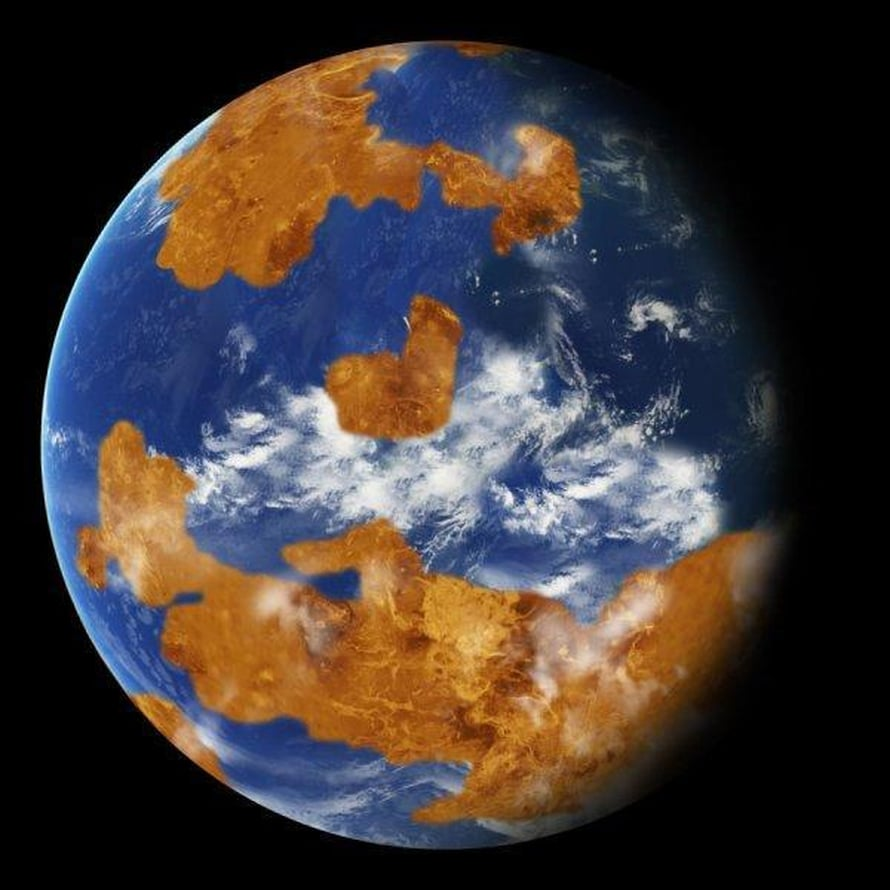 """Venus saattoi kauan sitten näyttää tältä. Pilvet ehkä suojasivat elämää liialta auringonvalolta varsinkin tropiikissa. Venus oli muinoinkin paljon lähempänä Aurinkoa kuin Maa. Kuva: <span class=""""photographer"""">Nasa</span>"""