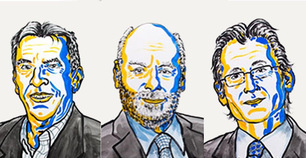 Jean-Pierre Sauvage, Fraser Stoddart ja Bernard Feringa saavat kemian Nobelin palkinnon. Kuva: Nobel Media