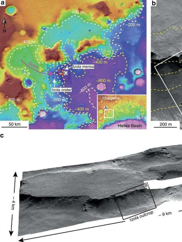 """Marsin Hellaksen altaassa näkyy merkkejä pitkään virranneesta vedestä. Tärkeä kuvien lähde oli Marsia kiertävä Mro-luotain. Kuva: <span class=""""photographer"""">Francesco Sales/Mro</span>"""