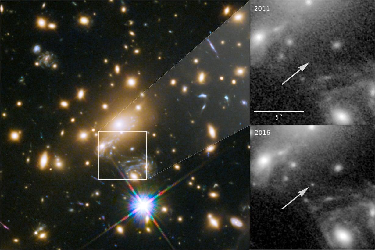 Ikaros näkyy yhdeksän miljardin valovuoden päästä, koska välissä olevan galaksin painovoimalinssi vahvistaa sen valoa. Kuva: NASA, ESA, P. Kelly