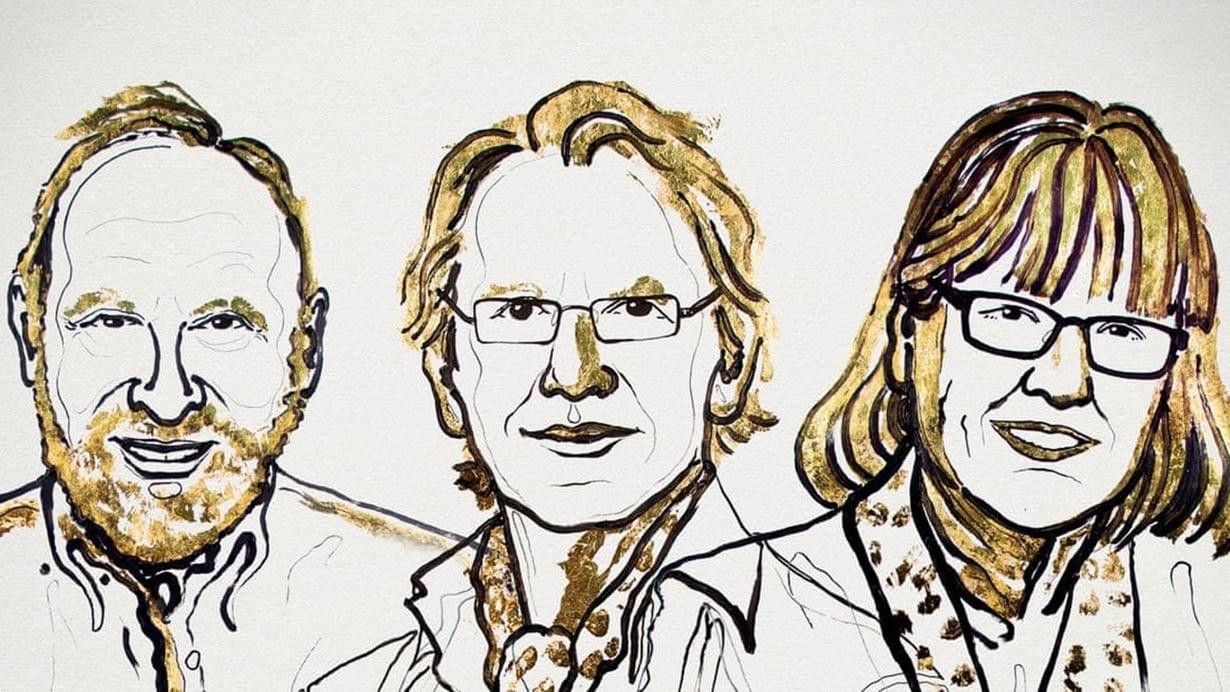 Arthur Ashkin, Gérard Mourou ja Donna Strickland palkittiin fysiikan Nobelin palkinnolla. Kuva: Niklas Elmehed / Nobel Media