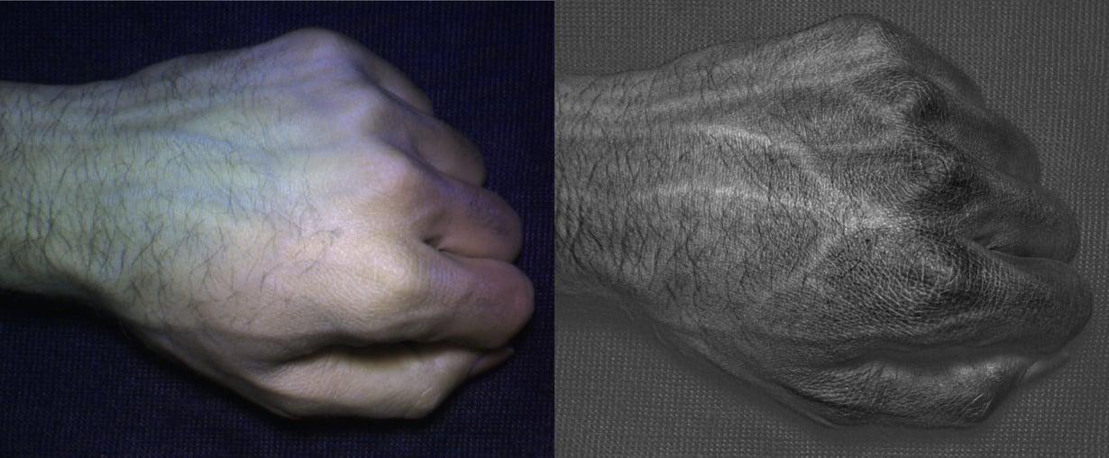 Hyperspektrikameralla pystyy erottamaan esimerkiksi verisuonet ihon alla. Suonten muodostama kuvio on jokaisella ihmisellä yksilöllinen, joten kameraa voitaisiin käyttää ihmisten tunnistamiseen. Kuva: University of Washington