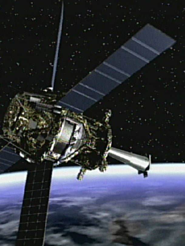 """Nasan Gravity Probe B -luotain mittasi avaruuden kaareutumista. Kuva:<span class=""""photographer"""">NASA/MSFC</span>"""