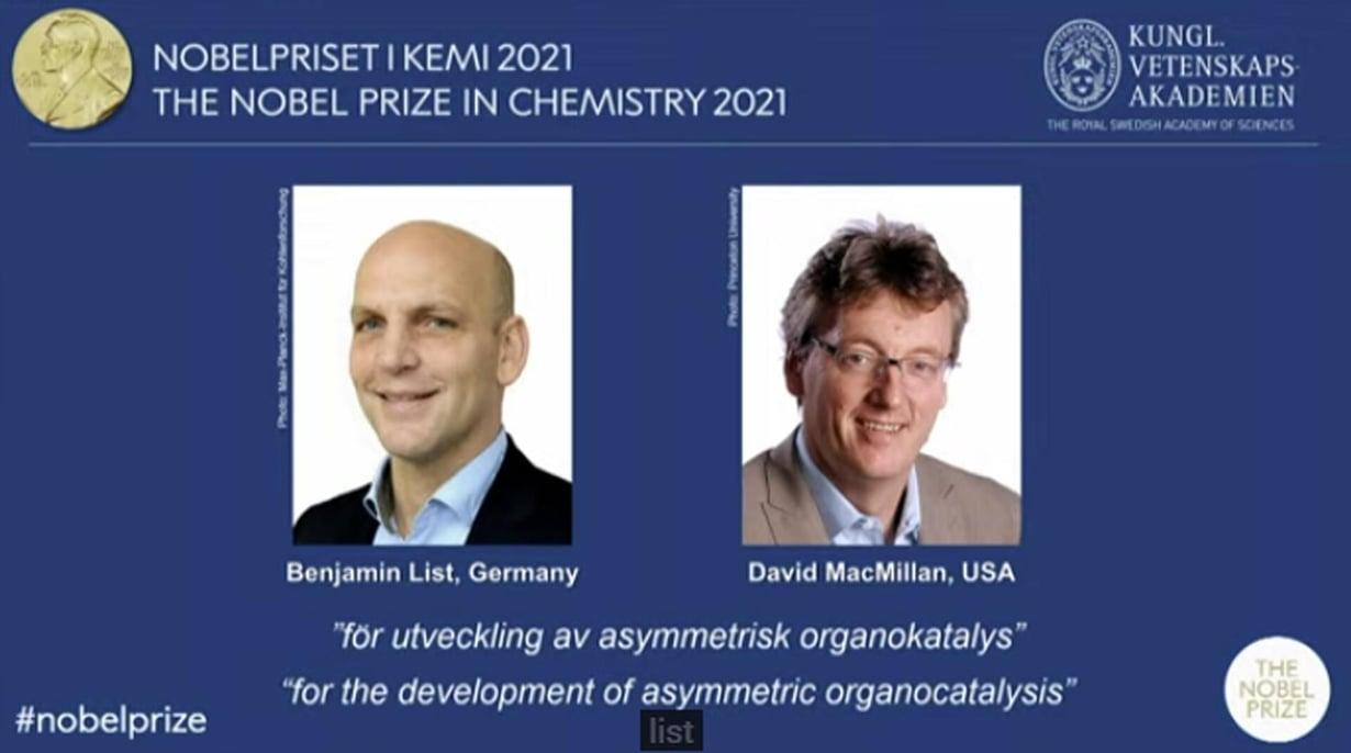 Benjamin List ja David MacMillan palkittiin kemian nobelilla. Kuva: nobelprize.org