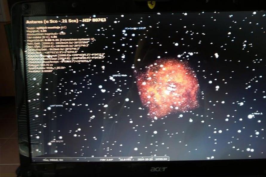 Tämänpäiväistä Stellarium-kokeilua. Stellarium on ilmaiseksi käytettävä tietokoneplanetaario.