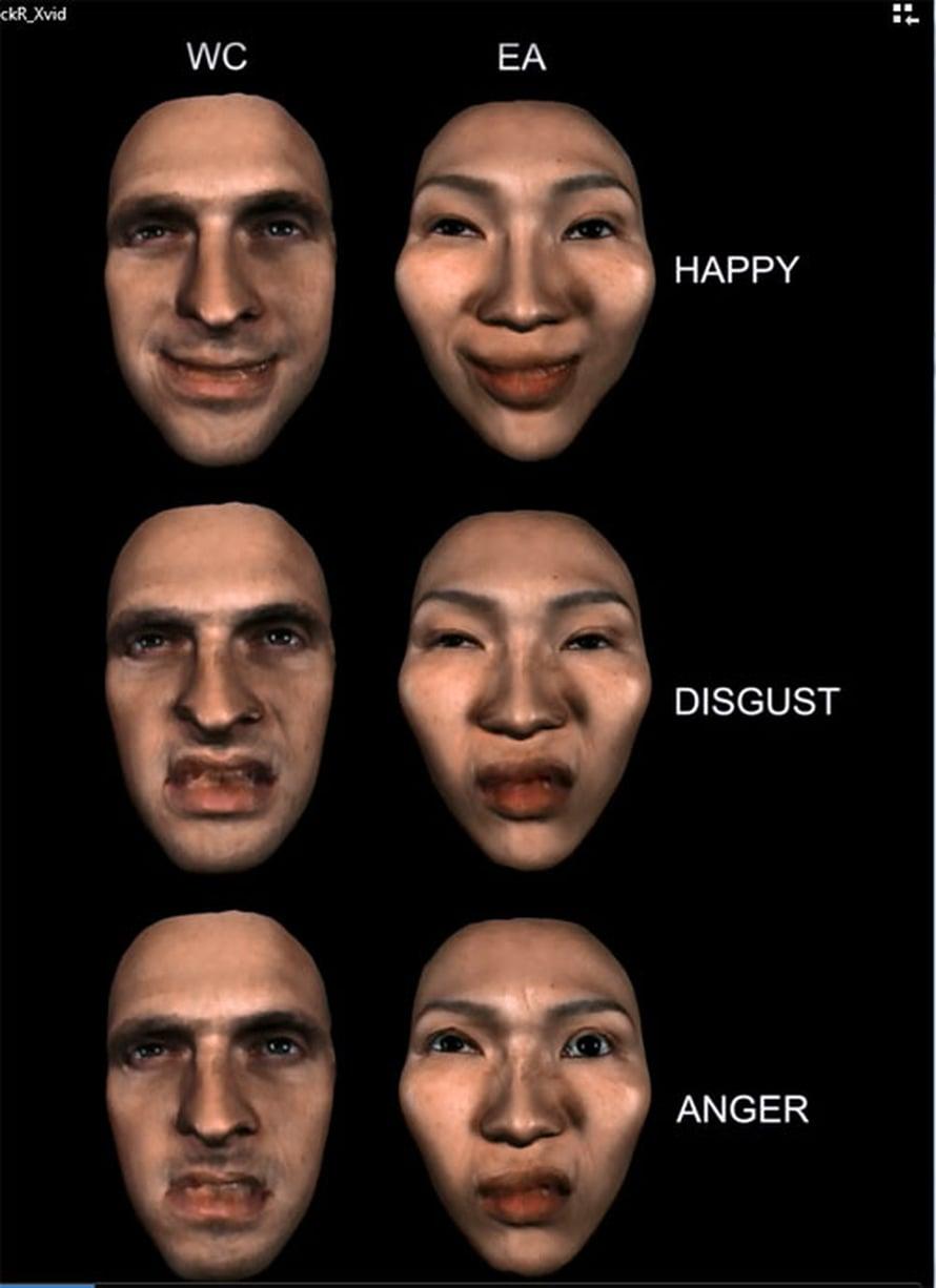 Länsimaisen katsojan onnellinen, inho ja viha vasemmalla, itäaasialaisen oikealla. Lännessä ilmeessä painaa suu, idässä silmät.