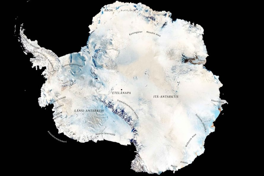 Antarktiksen länsilaita menettää jäätä enemmän kuin itä kerää. Siksi mantereen jäätase näyttää miinusta. Kuva: Nasa