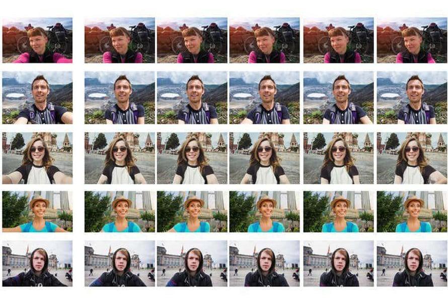"""Tekoäly tuottaa selfiestä (vasemmalla) useita kuvia, joissa käsien paikkaa on muutettu. Kuvassa viiden eri korjauskierroksen tuloksia. Kuva: <span class=""""photographer"""">Liqian Ma</span>"""