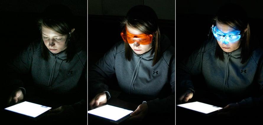 Koehenkilöt testasivat tabletteja paljain silmin, valoa suodattavien oranssien lasien läpi sekä sinisessä led-valossa.