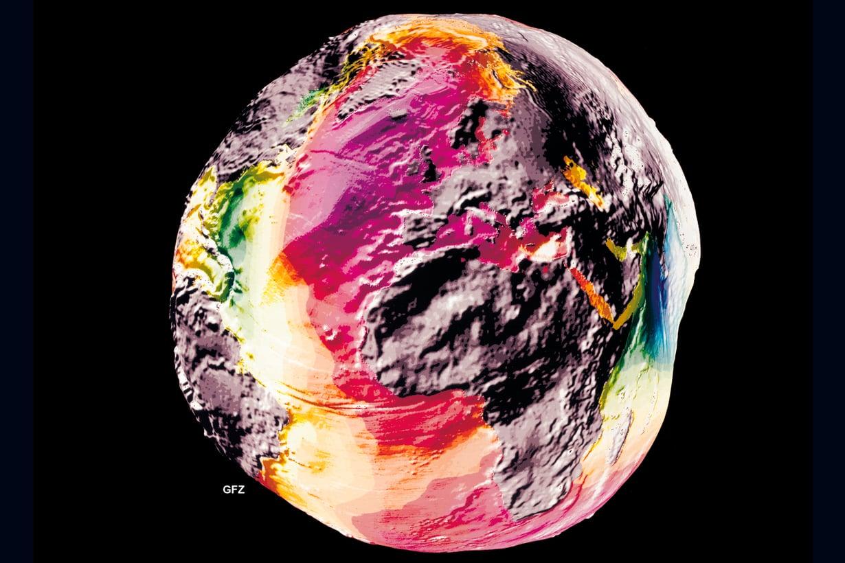 1995 Vanhoilla tekniikoilla tietoa kertyi paljon vähemmän ja hitaammin kuin nykyisillä. Ensimmäiseen Potsdamin perunaan käytettiin 37 satelliitin aineistoa. Kuva: GFZ