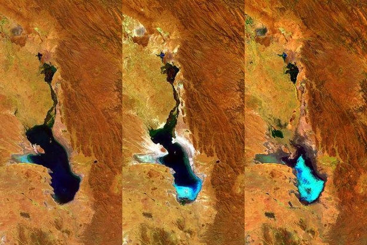 Poopójärvi on kutistunut tällä vuosikymmenellä nopeasti olemattomiin. Kuva: ESA