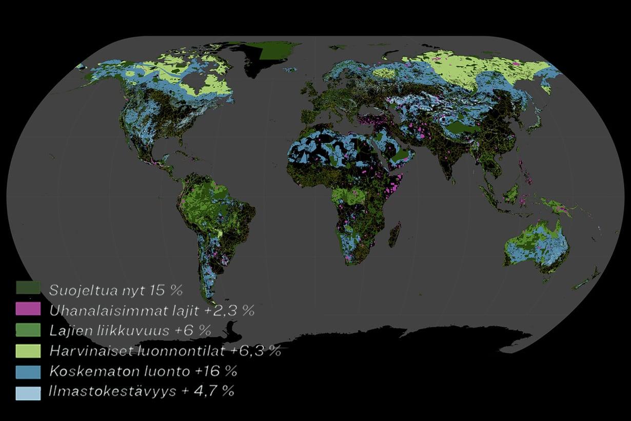 Leijonanosa 35 prosentin lisäturvan tarpeesta kohdistuu suuriin maihin. Niissä sijaitsevat suurimmat ekosysteemit, ja suojelualueita on vara lisätä. Kuva: Félix Pharand-Deschenês/Globaïa, Eric Dinerstein et al ja Getty Images