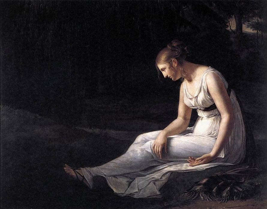 Melankolia on ollut suosittu maalausten aihe. Tämä on Constance Marie Charpentierin tulkinta apeudesta.