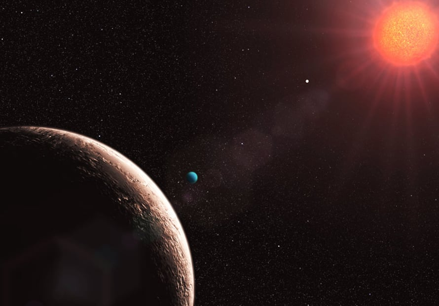 """Näiden kuvassa näkyvien neljän planeetaen lisäksi Gliese 581-tähteä kiertää kaksi muutakin, joista """"g"""" on tutkijoiden mukaan mitä todennäköisimmin elinkelpoinen."""