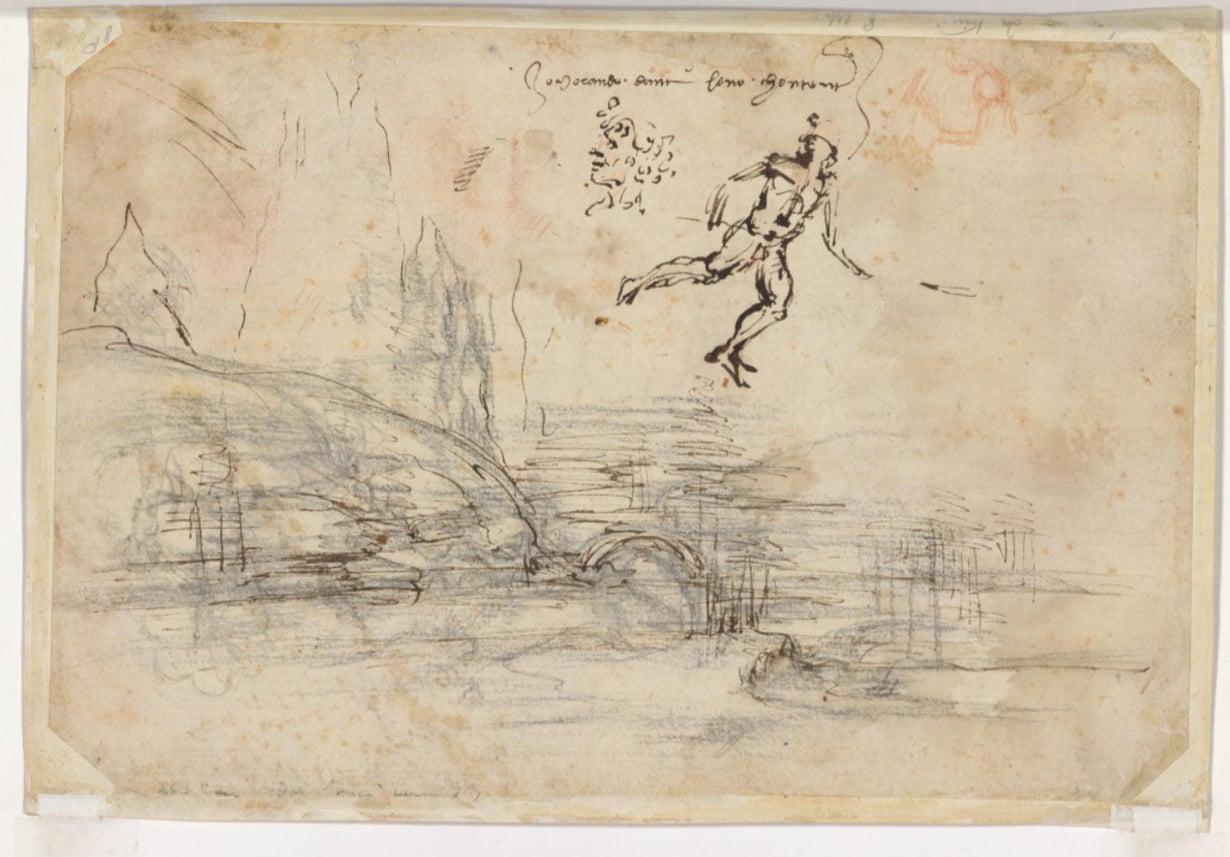 Leonardo piirsi myös paperin toiselle puolelle. Kuva: Reuters